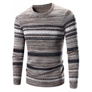 Crew Neck Waviness Splicing Pattern Long Sleeve Sweater - Coffee - M