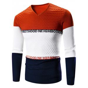V-Neck Color Block Splicing Graphic Print Long Sleeve Sweater - Orange - M