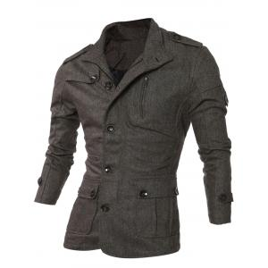 Epaulet Design Single-Breasted Pockets Jacket