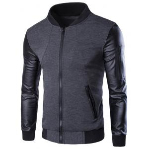 PU-Leather Splicing Zip-Up Jacket