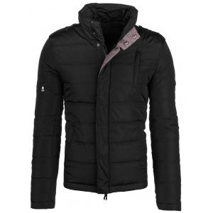 Epaulet Design Elbow Patch Zip-Up Padded Jacket