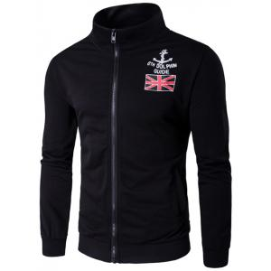 Stand Collar Anchor and Union Jack Print Zip-Up Jacket - Black - M