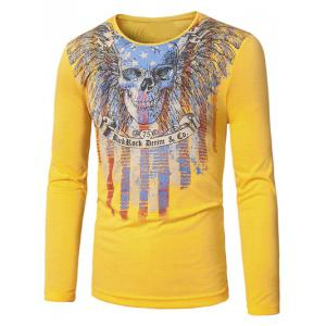 Crew Neck Skull and Striped Print Long Sleeve T-Shirt - Yellow - Xl