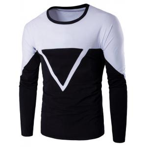 Crew Neck Color Block Triangle Applique Long Sleeve T-Shirt - White - M