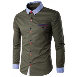 Stripe Splicing Turn-Down Collar Edging Color Block Button Shirt