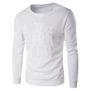 Crew Neck 3D Graphic Emboss Long Sleeve Sweatshirt