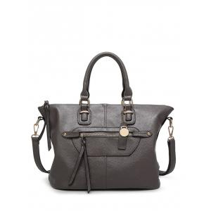 Metal Zip PU Leather Handbag - Gray
