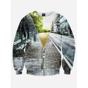 3D Rain Street Jacket Printed Long Sleeve Sweatshirt