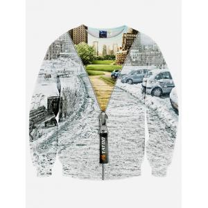 Crew Neck 3D Jacket Printed Long Sleeve Sweatshirt