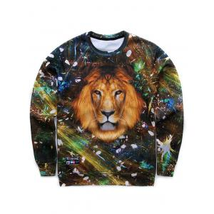 Crew Neck 3D Lion Starshine Printed Long Sleeve Sweatshirt