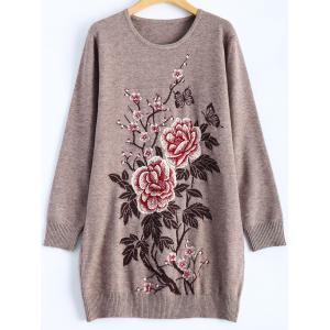 Rhinestoned Floral Long Sweater - Griege - One Size