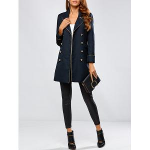 Contrast-Trim Double-Breasted Longline Blazer - Purplish Blue - L