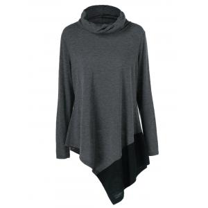 Plus Size Cowl Neck Asymmetrical Pullover - Black Grey - Xl