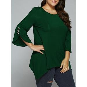 Button Embellished Sleeve Asymmetrical Blouse - Deep Green - 3xl