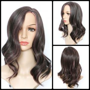 Long Side Parting Wavy Mixed Color Synthetic Wig