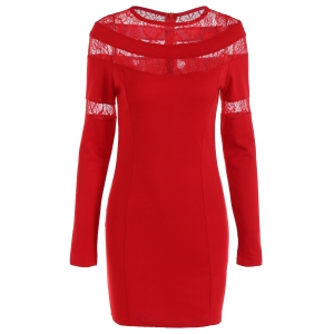 Lace-Paneled Openwork Bandage Long Sleeve Dress - Red - S