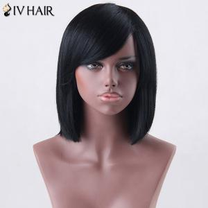 Medium Side Bang Straight Siv Human Hair Wig -