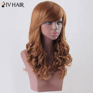 Long Side Bang Curly Siv Human Hair Wig - AUBURN BROWN