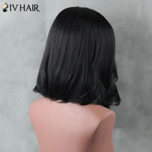 Medium Side Parting Straight Siv Human Hair Wig - JET BLACK
