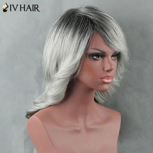 Medium Ombre Side Bang Curly Siv Human Hair Wig -
