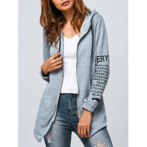 Graphic Zip Up Asymmetrical Hoodie - Gray - Xl