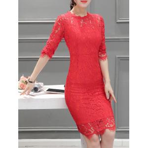 Long Sleeve Back Slit Lace Dress -