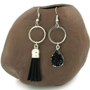 Dissymmetry Faux Crystal Tassel Drop Earrings -