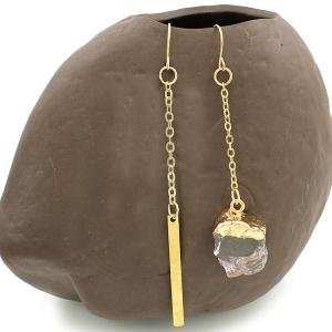 Dissymmetry Bar Natural Stone Drop Earrings - GOLDEN