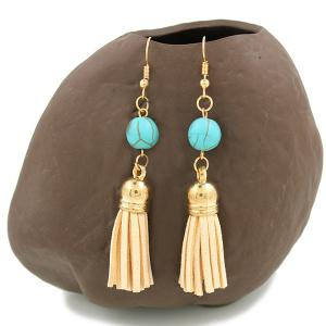 Leather Tassel Turquoise Bead Drop Earrings - Golden