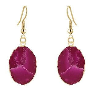 Natural Stone Gilt Edged Embellished Drop Earrings - Purple - 9