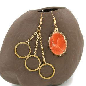 Gold Plated Stone Asymmetry Dangle Earrings - GOLDEN