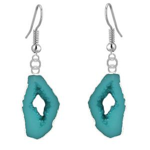 Irregular Natural Turquoise Drop Earrings - Turquoise Green