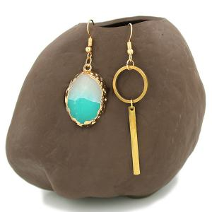 Jade Strip Dissymmetry Gold Plated Drop Earrings - GOLDEN