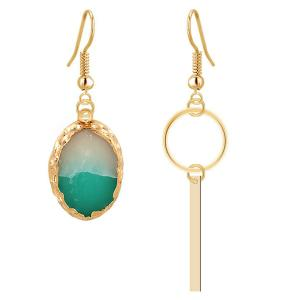 Jade Strip Dissymmetry Gold Plated Drop Earrings