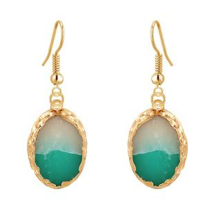 Oval Jade Gold Plated Drop Earrings