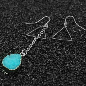 Mixed Match Triangle Geometry Drop Earrings - BLUE