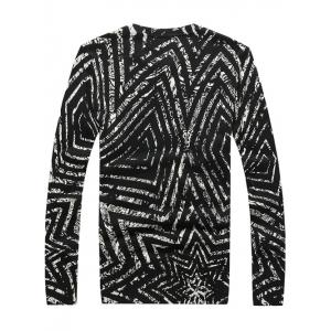 Crew Neck Striped Pattern Color Splicing Long Sleeve Sweater - WHITE/BLACK 4XL
