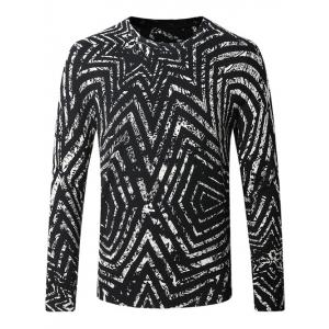 Crew Neck Striped Pattern Color Splicing Long Sleeve Sweater - White And Black - M