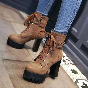 Lace-Up Metal Rivets Ankle Boots -