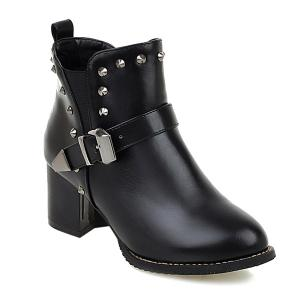Rivets Elastic Band Buckle Ankle Boots - Black - 39