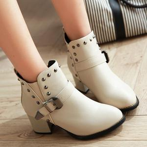 Rivets Elastic Band Buckle Ankle Boots - OFF WHITE 37