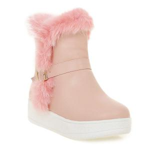 Faux Fur Buckle Platform Snow Boots