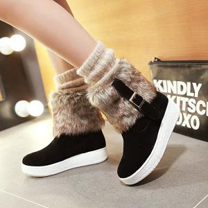 Buckle Faux Fur Platform Snow Boots - BLACK 37