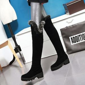 Suede Faux Fur Chunky Heel Thigh Boots - BLACK 37