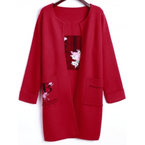 Plus Size Floral Embroidered Open-Front Coat - RED ONE SIZE