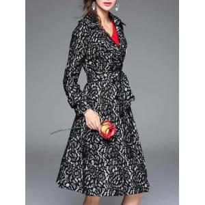 Vintage Lapel Collar Long Belted Lace Skater Coat