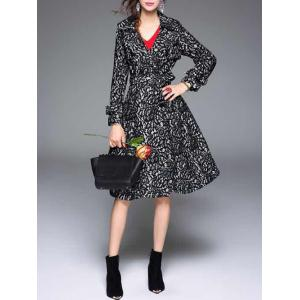 Vintage Lapel Collar Long Belted Lace Skater Coat -