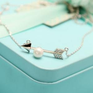 Rhinestone Faux Pearl Arrow Pendant Necklace -