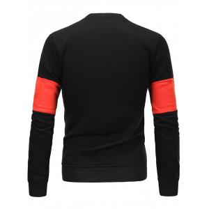 Flocking Color Block Spliced Long Sleeve Sweatshirt - BLACK 3XL