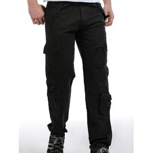 Zip Fly Pockets Military Army Cargo Pants - Black - 40